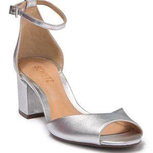 "Schutz ""roama"" block heel NEW silver ankle strap"